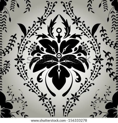 Seamless wallpaper background floral vintage vector - stock photo