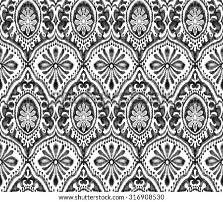 Seamless wallpaper design. Symmetric monochrome black &awhile paisleys with ornamental decorative elements. Pattern for fashion or interior.  - stock photo