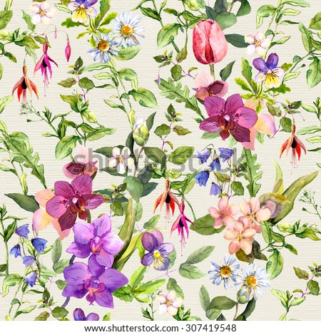 Seamless wallpaper - flowers and butterflies. Meadow floral pattern for interior design. Watercolor  - stock photo