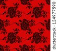 Seamless wallpaper pattern with flower on red background - stock vector