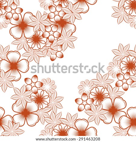 Seamless wallpaper pattern with flowers. Hand drawn flower pattern.  pattern with flowers and plants.  floral background