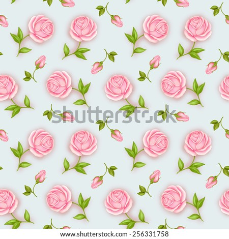Seamless wallpaper pattern with roses  - stock photo