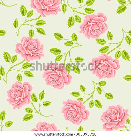 Seamless wallpaper pattern with roses.  - stock photo