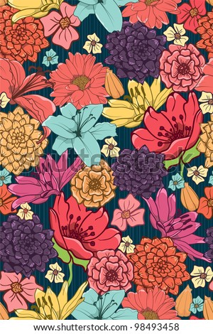 Seamless Wallpaper With Brightly Colored Hand-Drawn Flowers - stock photo