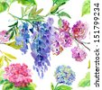 Seamless wallpaper with Colorful sakura, wisteria and  hydrangea flower, watercolor illustration - stock