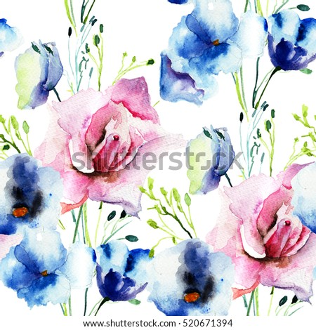 Seamless wallpaper with Decorative wild flowers, watercolor illustration