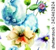 Seamless wallpaper with Hydrangea and Gerber flowers, watercolor illustration  - stock photo