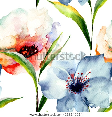 Seamless wallpaper with Lily flowers, watercolor illustration
