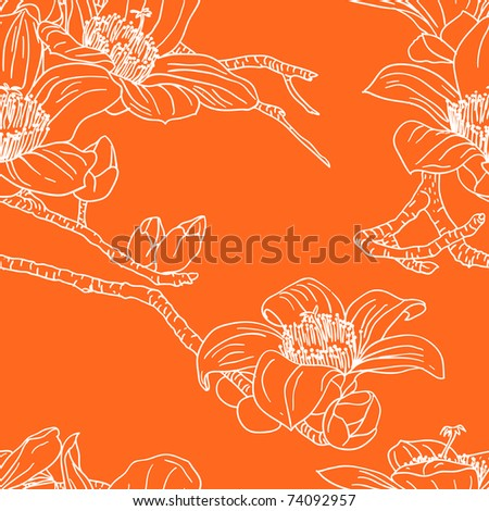 Seamless wallpaper with orchid flowers - stock photo