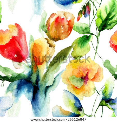 Seamless wallpaper with stylized flowers, watercolor illustration