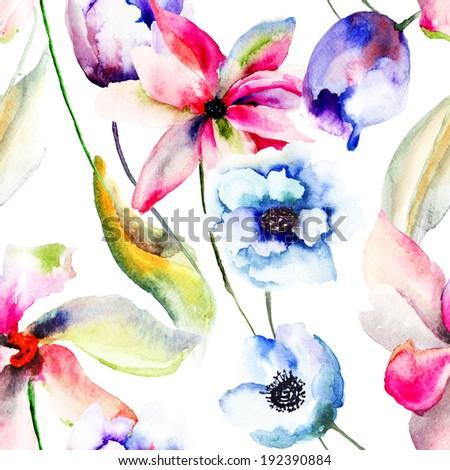 Seamless wallpaper with stylized flowers, Watercolor painting
