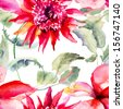 Seamless wallpapers with Beautiful Pink flower, Watercolor painting  - stock photo