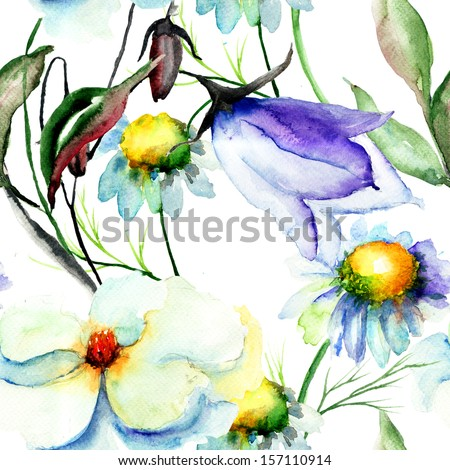 Seamless wallpapers with romantic flowers, watercolor illustration  - stock photo