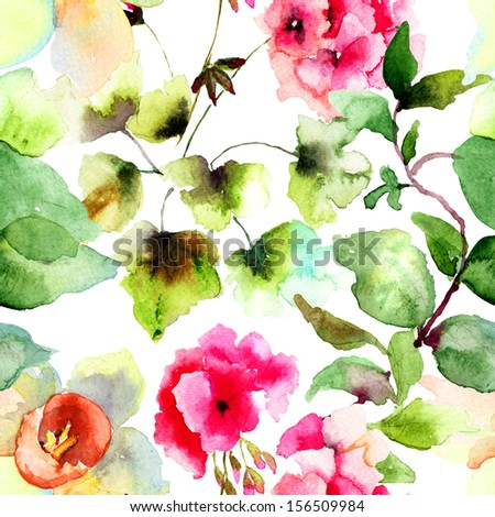 Seamless wallpapers with summer flowers, watercolor illustration - stock photo