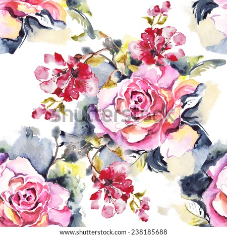 """SEAMLESS WATERCOLOR ; Abstract watercolor hand painted backgrounds. Album.""""Roses watercolor""""."""" seamless water color with the backgrounds"""" - stock photo"""