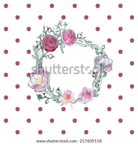 Seamless watercolor background. Floral wallpaper. Elegant aquarelle peony, ranunculus, cranberries, roses on white.  - stock photo