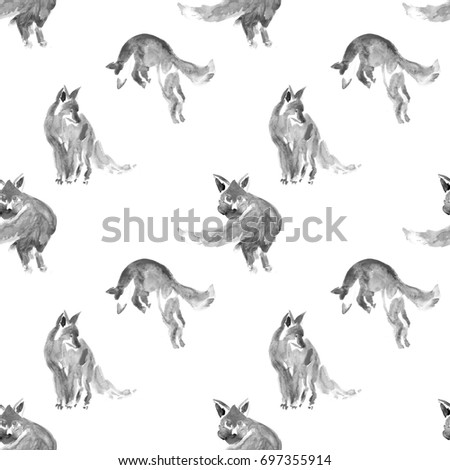 seamless watercolor black and white foxes watercolor animal painting kids background hand drawn