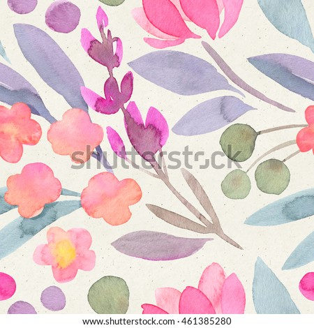 Seamless watercolor botanical pattern on paper texture. Floral Background.