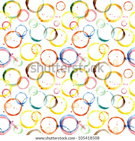 Seamless watercolor bright pattern with print rounds and splashes - stock photo