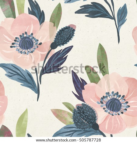 Seamless watercolor floral pattern on paper texture. Botanical background