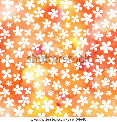 Seamless watercolor floral pattern with cute simple flowers - stock photo