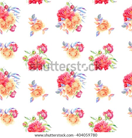 Seamless watercolor flower pattern with roses
