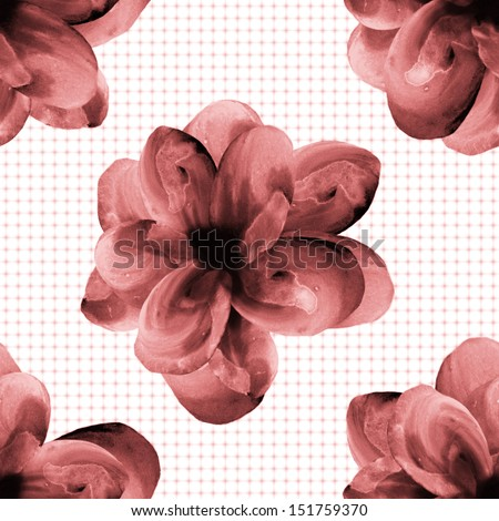 Seamless watercolor flowers pattern on a light polka dots background - stock photo