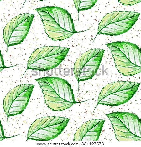 Seamless watercolor hand drawn leaves pattern. illustration.