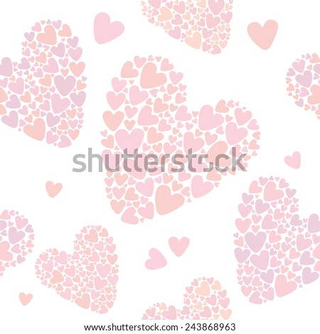 Seamless watercolor heart pattern. Valentine's day background.