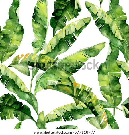 Seamless watercolor illustration of tropical leaves, dense jungle. Pattern with tropic summertime motif may be used as background texture, wrapping paper, textile,wallpaper design. Banana palm leaves.