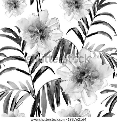 Seamless watercolor paintings. Grey flowers. - stock photo