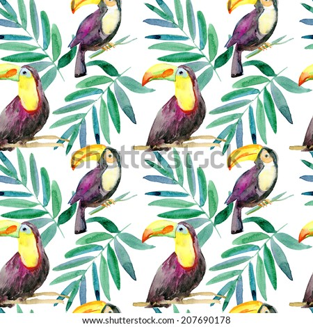 seamless watercolor pattern, birds and leaves. - stock photo