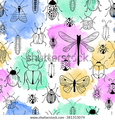 Seamless watercolor pattern. Nature background. Bugs and butterflies. Beetle, caterpillar, insects, dragonfly, ladybug. - stock photo