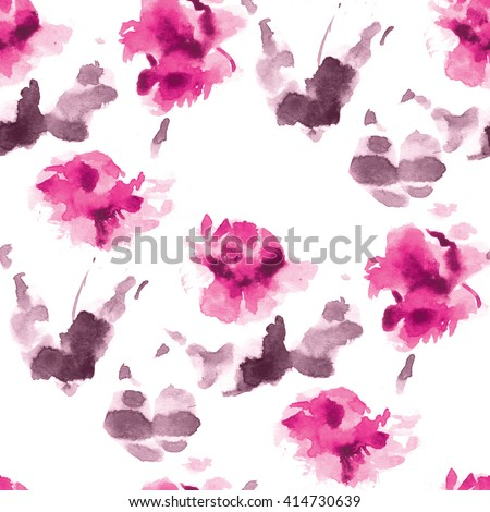 Seamless watercolor pattern pink flowers purple stock illustration seamless watercolor pattern of pink flowers and purple leaves on a white background mightylinksfo Gallery