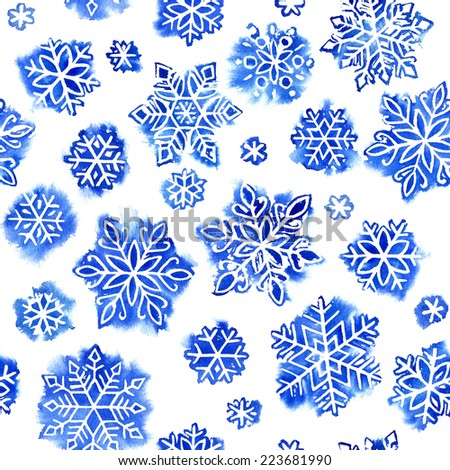seamless watercolor pattern of snowflakes