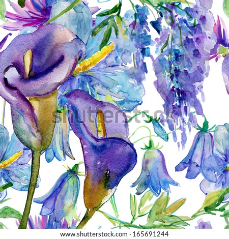 Seamless watercolor pattern with blue and purple flowers - stock photo