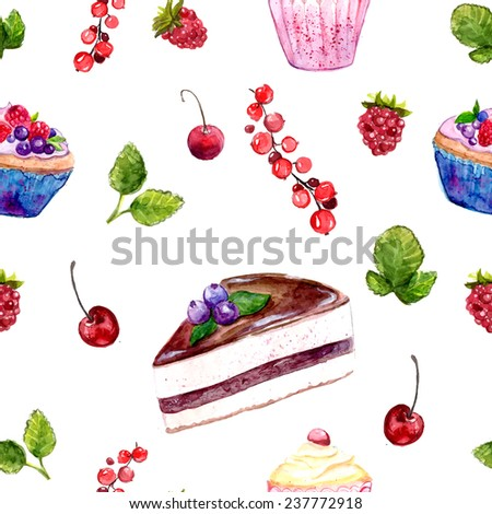 Seamless watercolor pattern with chocolate cake with blueberry, cupcake, pastry and berries. Sweet dessert background - stock photo