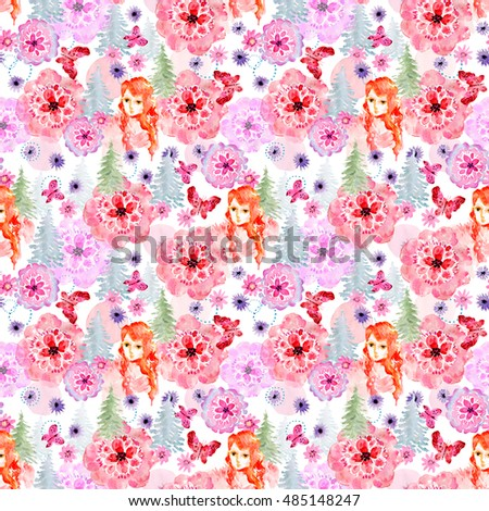 Seamless watercolor pattern with fir-trees, flowers, butterflies and red-haired girl