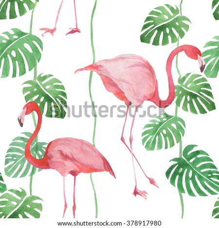 Seamless watercolor pattern with flamingo and leaves - stock photo