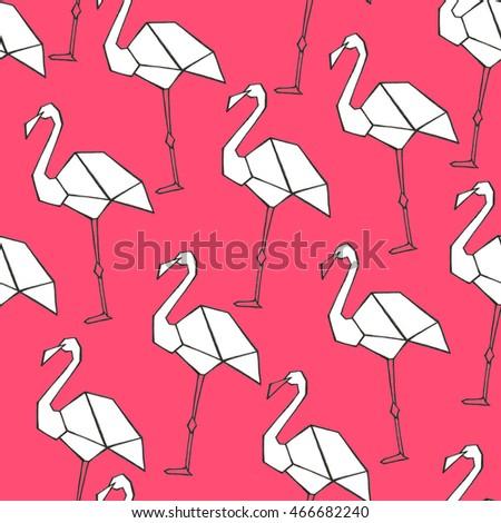 Seamless Watercolor Pattern Black Origami Flamingo Stock