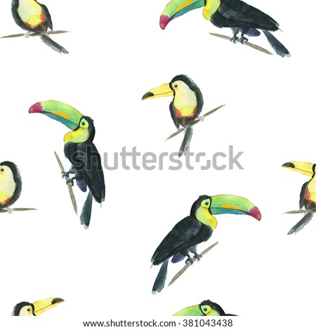 Seamless watercolor pattern with toucan - stock photo