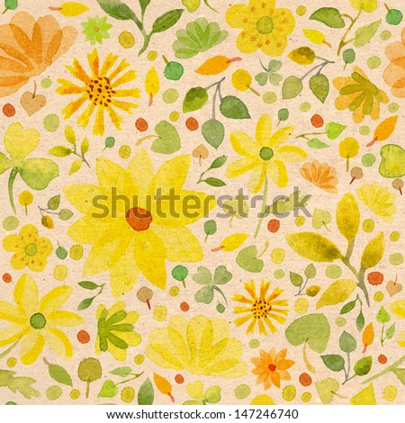 Seamless watercolor pattern with yellow flowers and kraft paper texture - stock photo