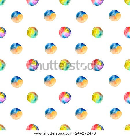 Seamless watercolor spot pattern. Watercolor colorful  background. Hand drawing illustration for design - stock photo