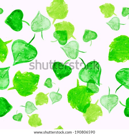 Seamless watercolour leaves pattern