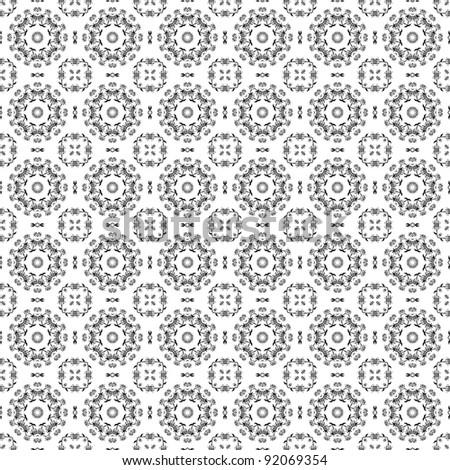 Seamless White and Black Floral Kaleidoscope Background - stock photo