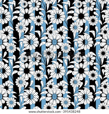Seamless white  floral pattern striped background - stock photo