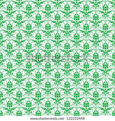 Seamless White & Green Damask