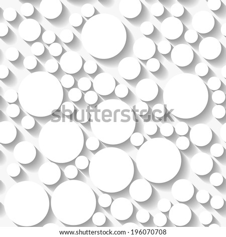 Seamless white origami pattern with random circles. Raster version