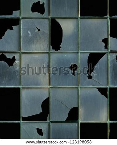seamless window with broken glass texture - stock photo