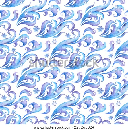 Seamless winter background with snow flakes and winter ornament. Water colour decorative design with scrolls and curves - stock photo